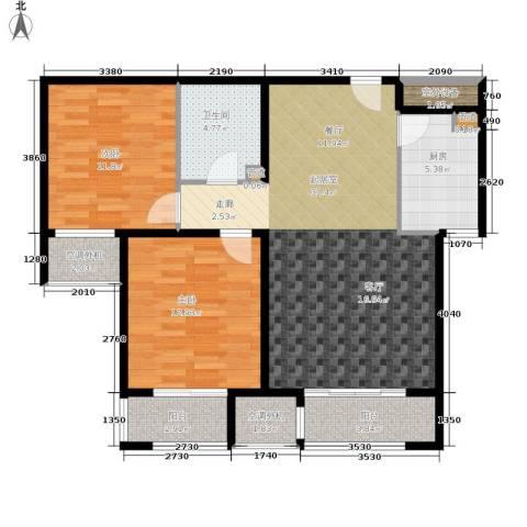 溪语蓝湾2室0厅1卫1厨82.00㎡户型图