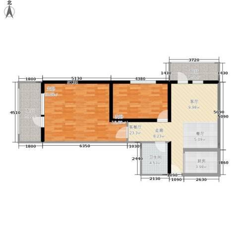 开阳里小区2室1厅1卫1厨87.00㎡户型图