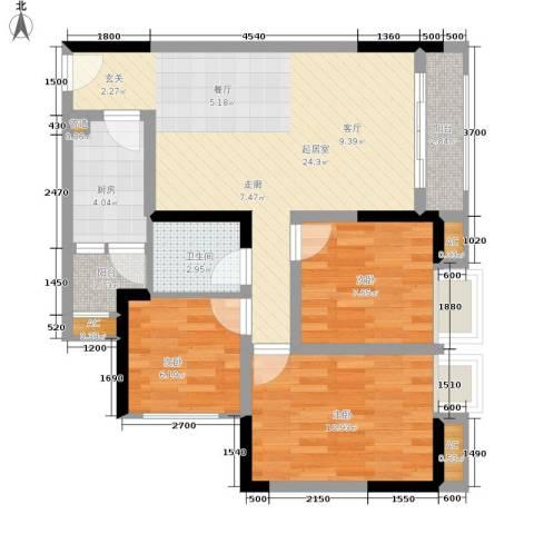 七彩景秀3室0厅1卫1厨81.00㎡户型图