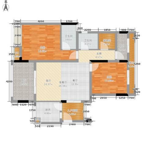 金科开州财富中心2室1厅2卫1厨105.00㎡户型图