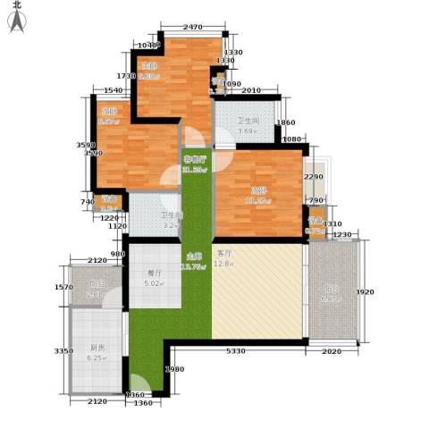 缤纷时代3室1厅2卫1厨98.45㎡户型图