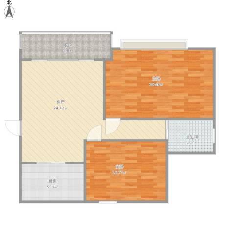 御窑花园2室1厅1卫1厨98.00㎡户型图