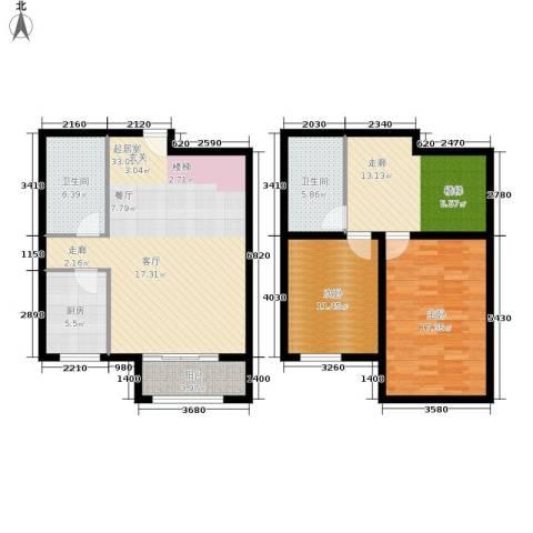 壹城公馆2室0厅2卫1厨109.00㎡户型图