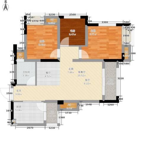 远洋高尔夫国际社区果岭洋楼3室1厅1卫1厨83.00㎡户型图