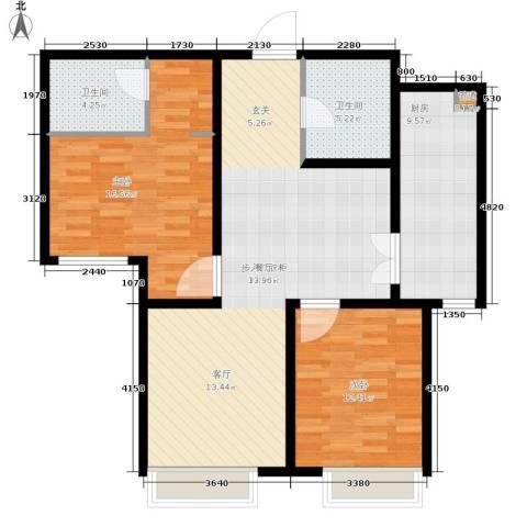 慧翔龙苑2室0厅2卫1厨91.35㎡户型图