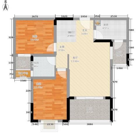 泰吉滨江二期岭澜2室1厅1卫1厨73.00㎡户型图