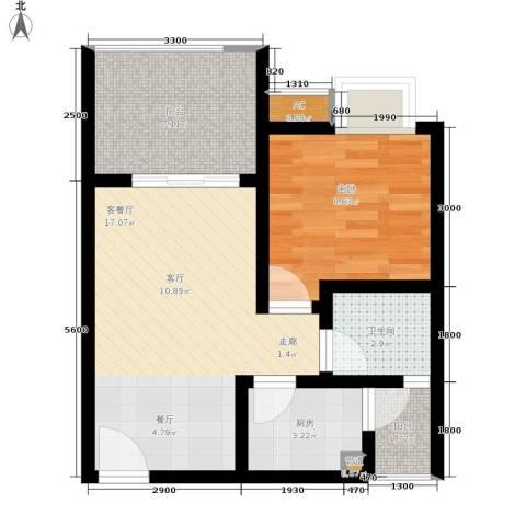 重庆红枫林国际度假村1室1厅1卫1厨49.00㎡户型图