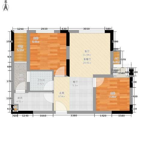 远洋高尔夫国际社区果岭洋楼2室1厅1卫1厨60.00㎡户型图