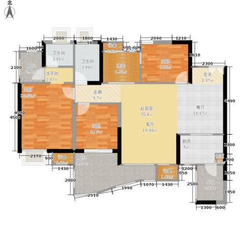 中渝山顶道国宾城3室0厅2卫1厨104.02㎡户型图