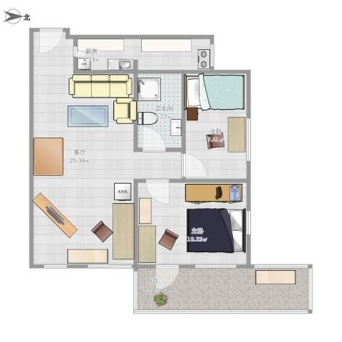 燕山小区2室1厅1卫1厨81.00㎡户型图