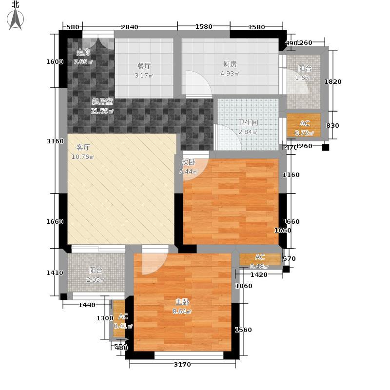 风花树70.70㎡二期14、15号楼高层6号房户型2室2厅