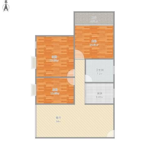 香晖园3室1厅1卫1厨128.00㎡户型图
