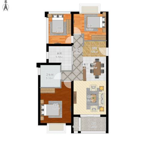 招商依山郡3室1厅1卫1厨112.00㎡户型图