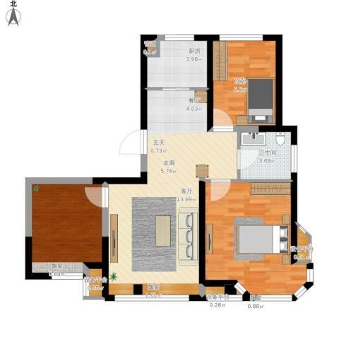 京贸国际公馆3室1厅1卫1厨78.18㎡户型图