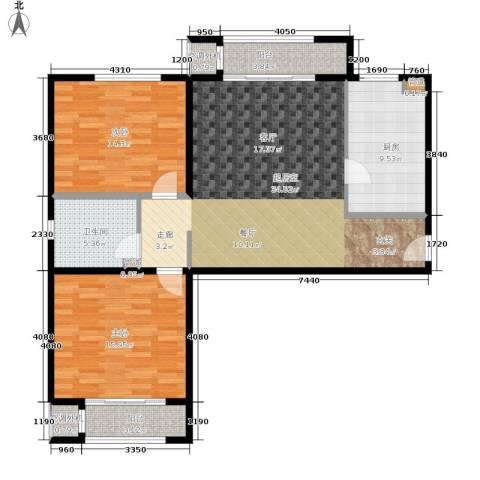 溪语蓝湾2室0厅1卫1厨97.00㎡户型图