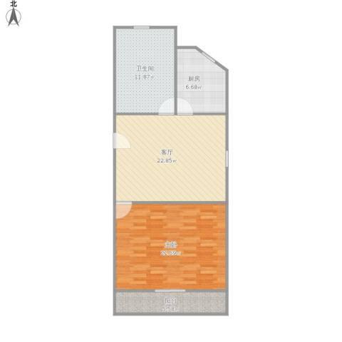 建业新村1室1厅1卫1厨93.00㎡户型图