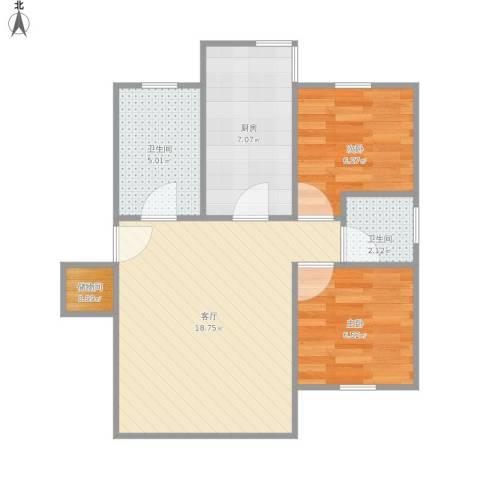 双秀家园南园2室1厅2卫1厨64.00㎡户型图
