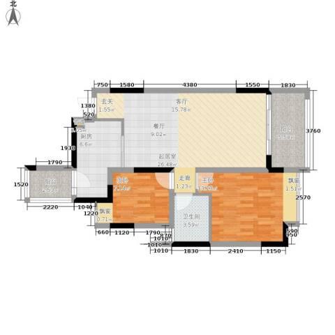 恒大华府2室0厅1卫1厨69.00㎡户型图