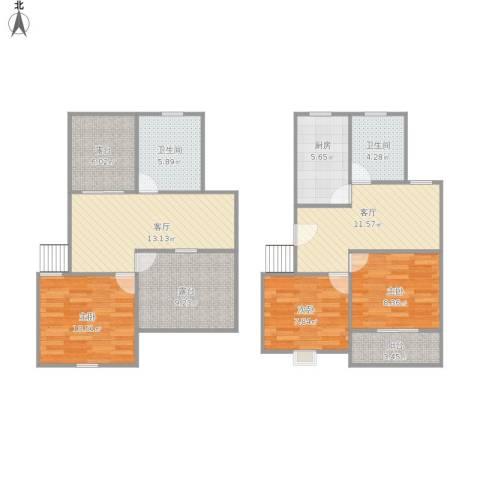 新月明星园3室2厅2卫1厨117.00㎡户型图