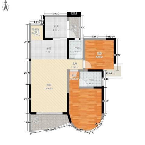 华宇・金沙港湾2室1厅2卫1厨82.00㎡户型图