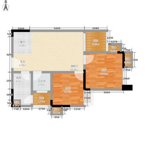 华宇・金沙港湾2室1厅1卫1厨58.00㎡户型图
