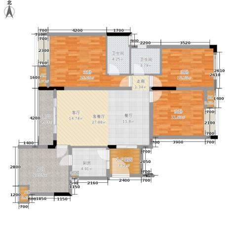 金科开州财富中心3室1厅2卫1厨116.00㎡户型图