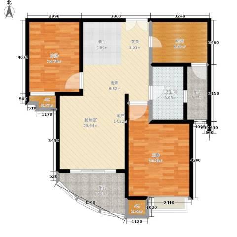 慧芝湖花园二期2室0厅1卫1厨88.00㎡户型图