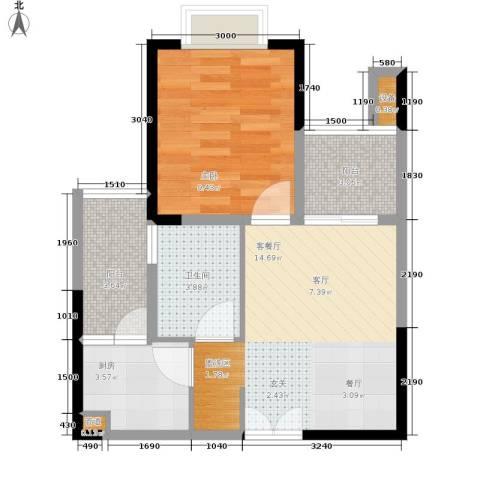 华宇・金沙港湾1室1厅1卫1厨40.00㎡户型图