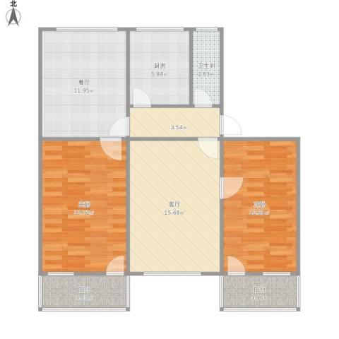 鲁迅园小区2室2厅1卫1厨100.00㎡户型图