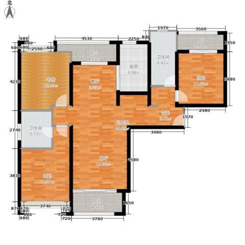 绿洲雅宾利花园3室0厅2卫1厨134.00㎡户型图
