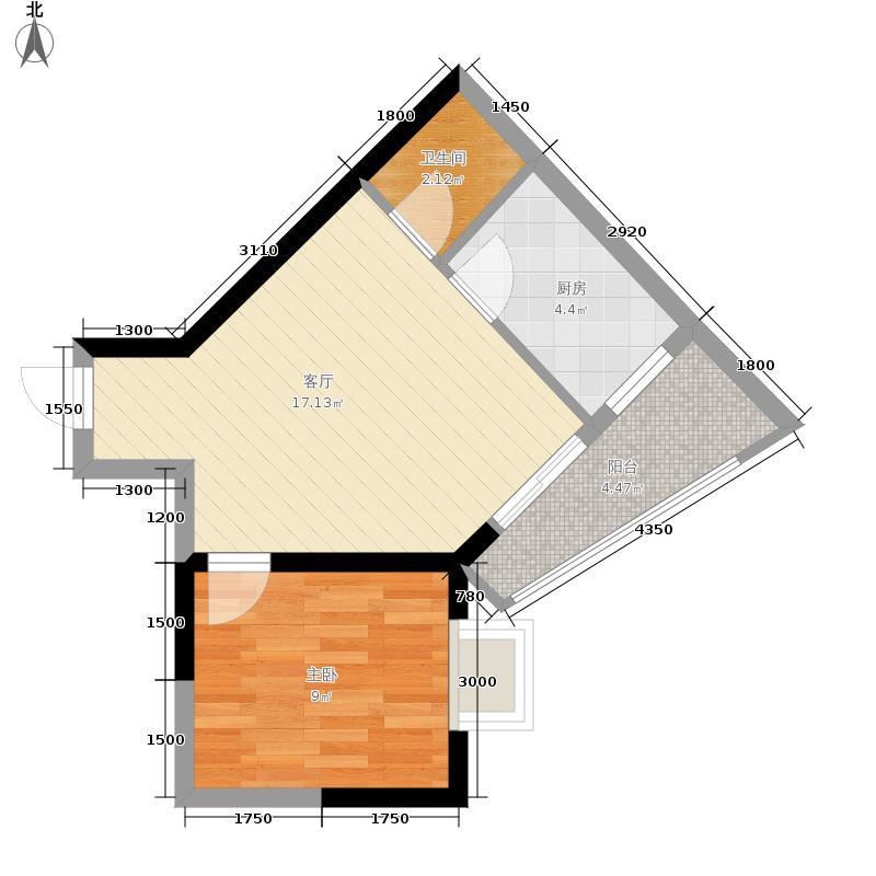 兰波红城丽景44.90㎡C-3、D-31面积4490m户型