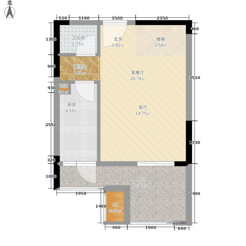 金科开州财富中心69.42㎡一期4号楼标准层03-D8跃层上户型