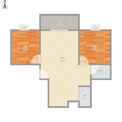 三湘西季花城2室1厅1卫1厨56.00㎡户型图