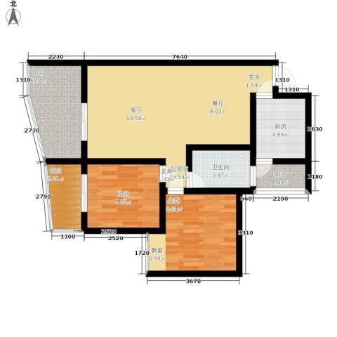 枫桥水郡2室0厅1卫1厨73.00㎡户型图