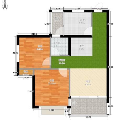 缤纷时代2室1厅1卫1厨69.05㎡户型图