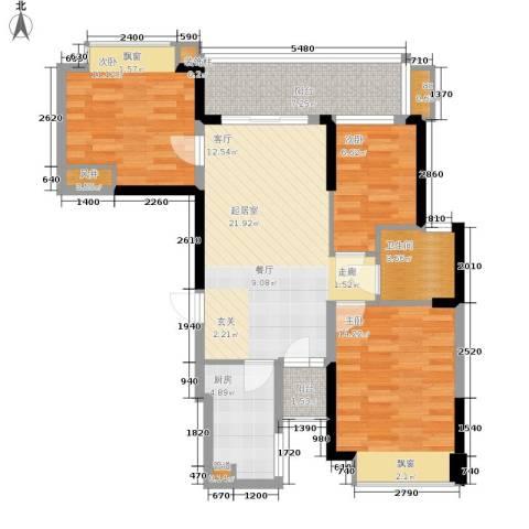 恒大华府3室0厅1卫1厨105.00㎡户型图