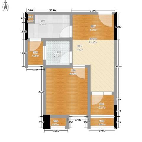华宇・金沙港湾1室1厅1卫1厨35.00㎡户型图