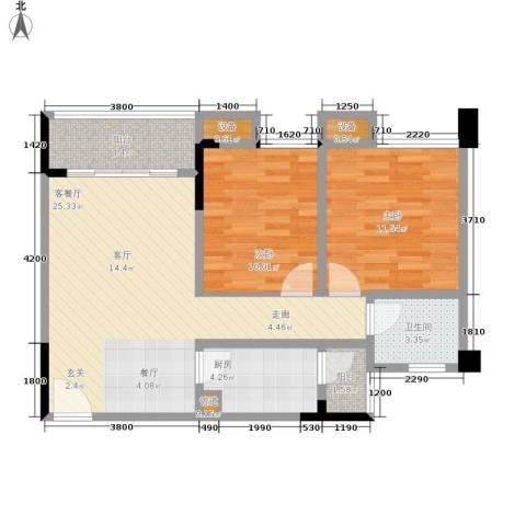 华宇・金沙港湾2室1厅1卫1厨65.00㎡户型图