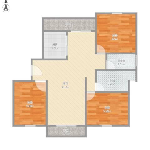 宝华盛世花园3室1厅2卫1厨81.00㎡户型图