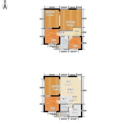 当代城3室1厅2卫1厨133.52㎡户型图