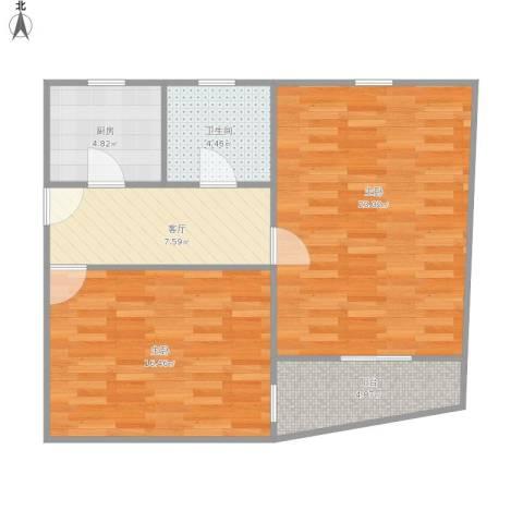 汾西路260弄小区2室1厅1卫1厨82.00㎡户型图