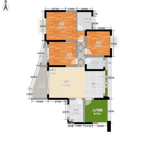 华宇西城丽景3室1厅2卫1厨106.00㎡户型图