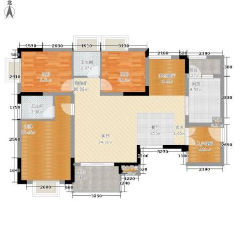 泰吉滨江二期岭澜3室1厅2卫1厨103.00㎡户型图