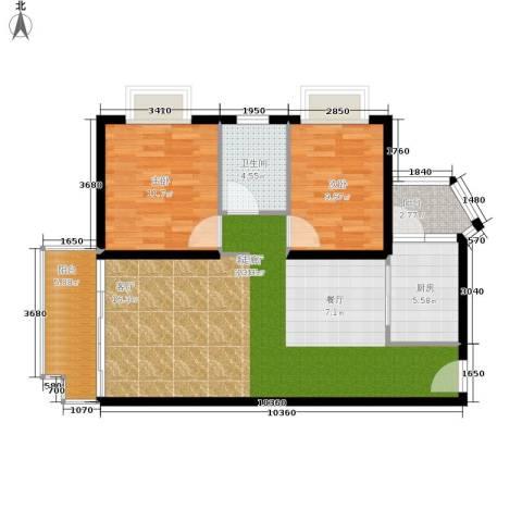 晋愉绿岛翡冷翠2室1厅1卫1厨93.00㎡户型图