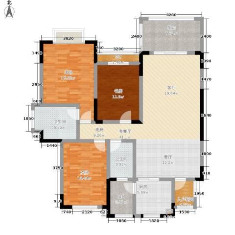 蓝光十里蓝山别墅3室1厅2卫1厨165.00㎡户型图