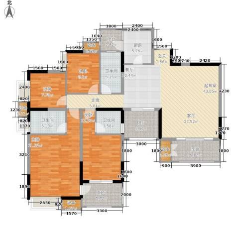 中渝山顶道国宾城4室0厅3卫1厨139.00㎡户型图