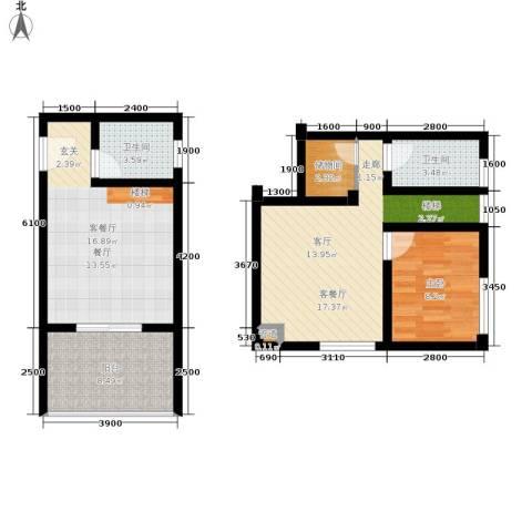 重庆红枫林国际度假村1室2厅2卫0厨60.45㎡户型图