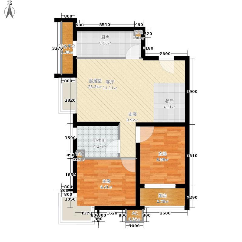 新天地美域Fa-3户型2室2厅1卫
