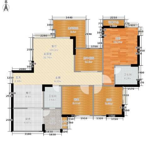 锦上华庭北区观苑1室0厅2卫1厨110.00㎡户型图