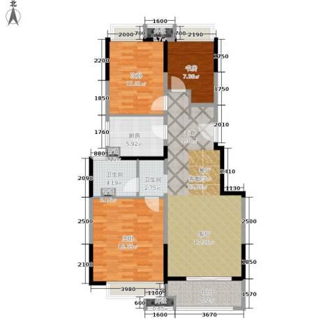 万科时一区3室1厅1卫1厨95.00㎡户型图